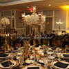 Gatsby wedding gold candelabra black lace tableclothes candles