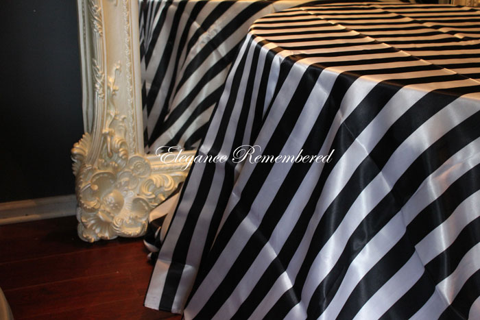 Stripe Tablecloth Linen Black / White